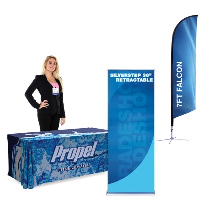 Falcon 7 ft. X-Base - SilverStep Stand - 6ft Table Cover Showcase Kit